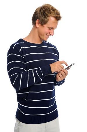 celulas humanas: Adulto joven conectado al mundo por mensajes de texto