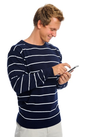 Young adult connected to the world by texting Stock Photo - 9967932