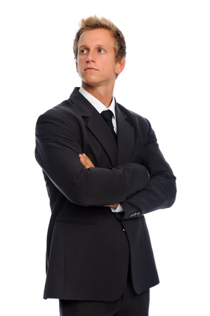 Serious corporate person in black business suit, isolated on white