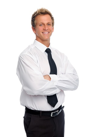 Attractive businessman in tie smiles for a portrait  photo
