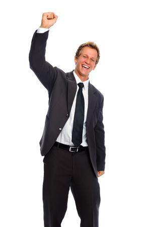 actitud positiva: Businessan �xito golpea el aire en gesto de Victoria Foto de archivo