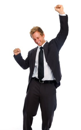 Excited white man in business suit celebrates his winning, isolated on white photo