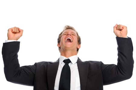Attractive man in formal suit achieves success and is overjoyed  Stock Photo - 9967983