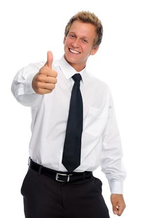 태도: Successful professional has thumbs up in studio  스톡 사진