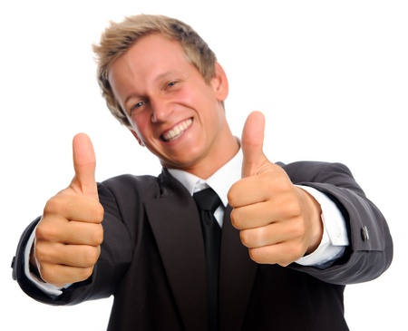 thumbs up sign: positive businessman