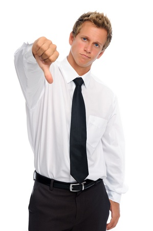 frowns: Disappointed entrepreneur frowns and has thumbs down
