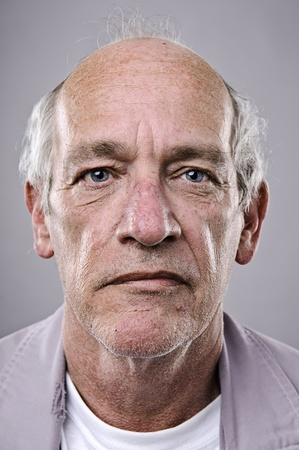 stares: Old man, detailed portrait, lots of wrinkles