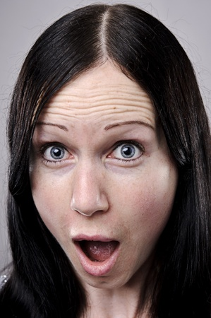gasp: A real funny face captured in high detail (see portfolio for more in this series)  Stock Photo