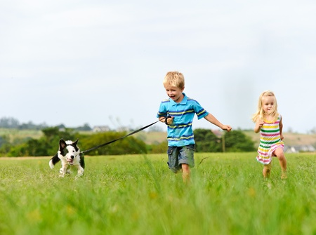 little boy and girl: Brother and sister runs in a green field with their new pet