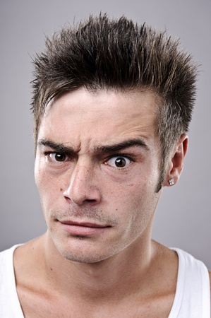 crazy hair: A real funny face captured in high detail (see portfolio for more in this series)  Stock Photo