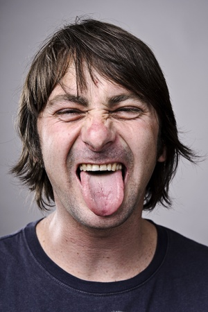 crazy guy: A real funny face captured in high detail (see portfolio for more in this series)  Stock Photo