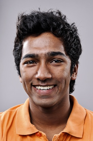 Zeer gedetailleerde fine art portret. glimlachend gelukkig echte persoon Stockfoto