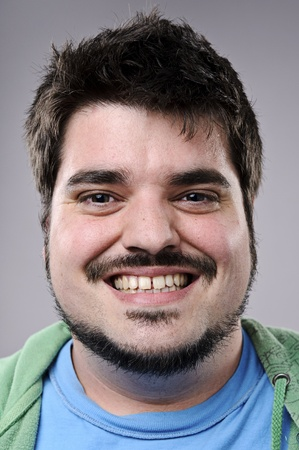 overweight man: Highly detailed fine art portrait. smiling happy real person