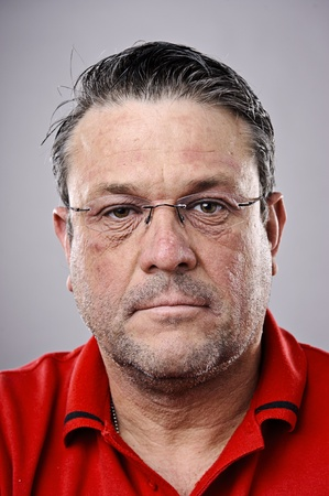 fine art portrait: Fine art portrait of a older brunette man with glasses