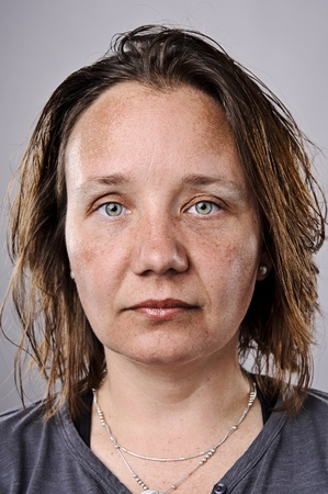 expressionless: Young woman without makeup, highly detailed portrait