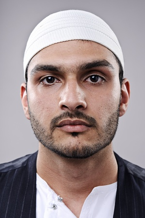 Portrait of a muslim man, highly detailed fine art portrait photo