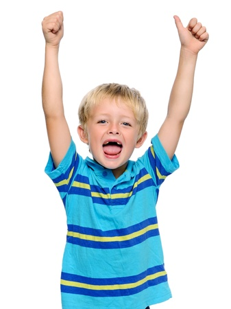 enthusiastic: Happy young boy has his thumbs up