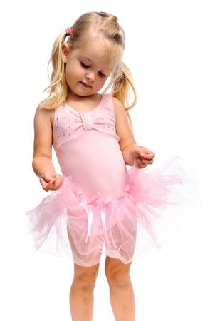 blonde little girl:  ballerina girl with pink tutu is adorable in studio