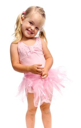tutu ballet: chica joven ballet es sonriente y feliz en estudio, aislado en blanco  Foto de archivo