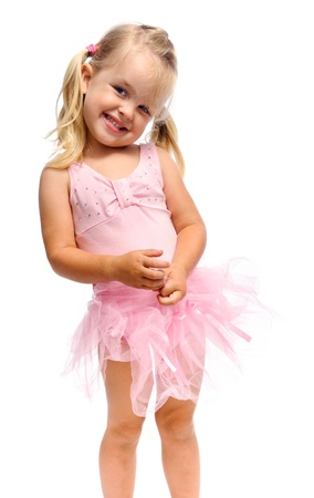 young ballet girl is smiling and happy in studio, isolated on white Stock Photo - 10227785