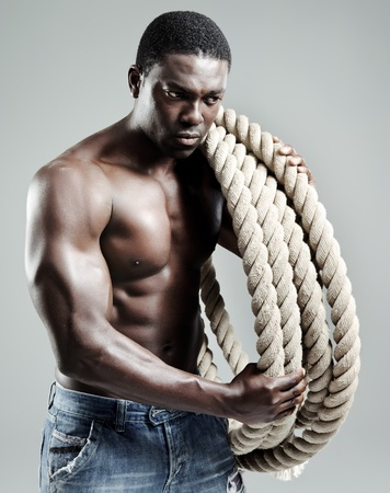 african man is attractive, strong and topless Stock Photo - 10570498
