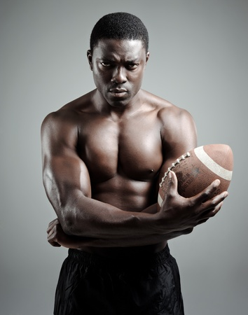 Serious portraits of a black american football sportsman in studio Stock Photo - 10570464