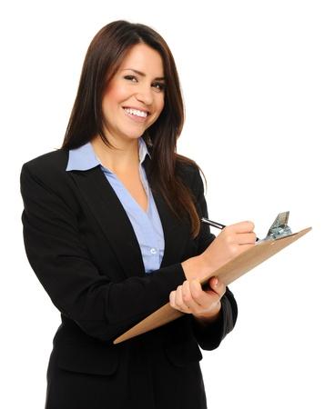 portapapeles: Investigador en traje formal de negocios escribe la informaci�n en el portapapeles, aislados en blanco Foto de archivo