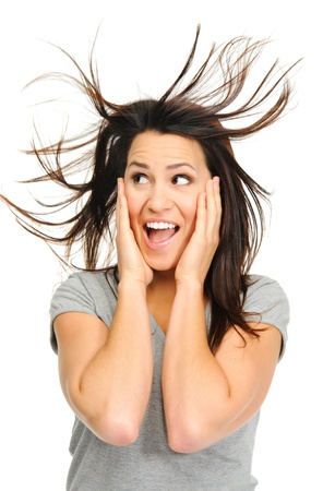 sideways: Pretty woman is excited with windswept hair