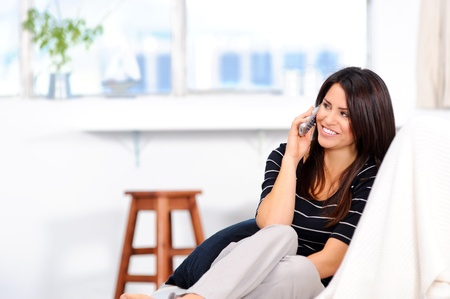 Attractive brunette chatting on the telephone at home Stock Photo - 10803007