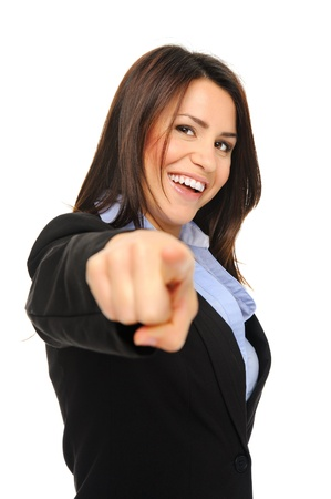 Pretty brunette in formal business attire stretches her arm to point into frame Stock Photo - 10803030