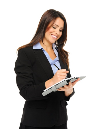enquiry: Researcher in formal business attire writes information on clipboard, isolated on white  Stock Photo