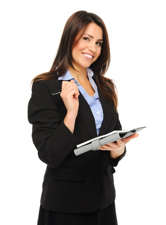 enquiry: Attractive brunette holding a clipboard while doing a survey, isolated on white