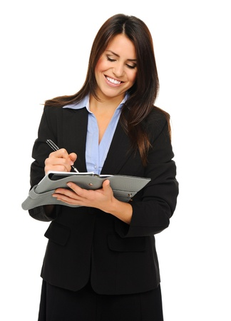 Researcher in formal business attire writes information on clipboard, isolated on white  Stock Photo