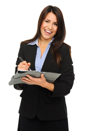 collect: Researcher in formal business attire writes information on clipboard, isolated on white  Stock Photo