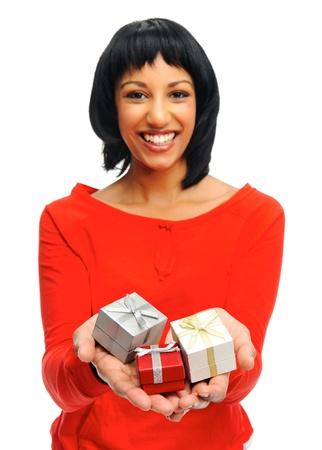 three gift boxes: Linda chica tiene tres cajas de regalo en las palmas abiertas