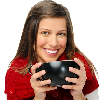 Woman in red knitted top holds soup bowl and looks at camera Stock Photo - 11070427