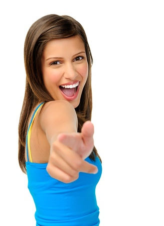 targeting: laughing beautiful woman points towards camera isolated on white