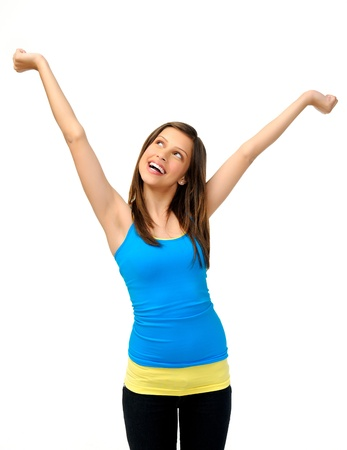 white singlet: young girl with arms up is happy and excited, vibrant and fun