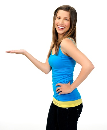 white singlet: young woman in pose to show product or item for advertising. friendly and attractive with smile