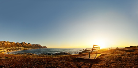 night scenery: Beautiful sunset over Camps Bay in Cape Town, South Africa.