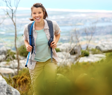 beautiful girl hiking outdoors leading a healthy lifestyle Stock Photo - 11474413
