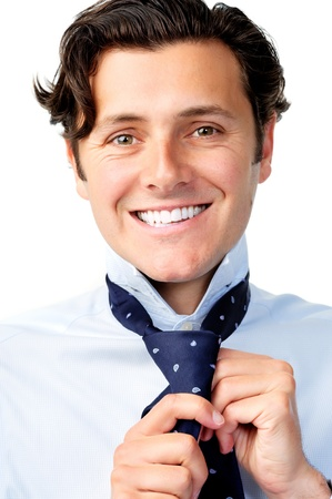 Confident caucasian man is happy while he dresses for work Stock Photo - 11598393