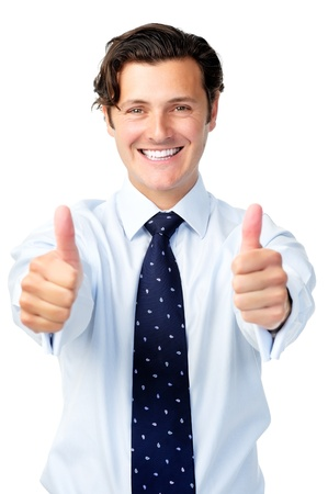 Enthusiastic businessman motivates by giving two thumbs up 