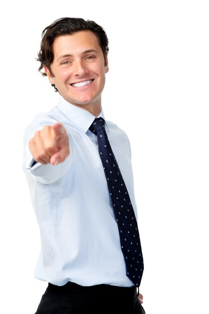 Happy businessman raises his arm out to point to suggest target marketing or recruitment intentions  photo