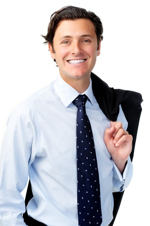slings: Businessman is happy and slings his suit jacket over his shoulder