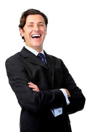 boca abierta: Hombre de negocios feliz se r�e con la boca abierta