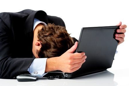disbelief: Businessman is distraught and puts his head down in disbelief after hearing news of the global recession  Stock Photo