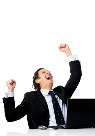 happy businessman: Triumphant office worker succeded in striking a good deal online