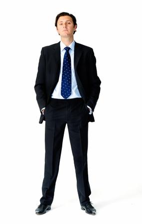 Retrato de cuerpo entero de un hombre de negocios caucásico arrogante Foto de archivo