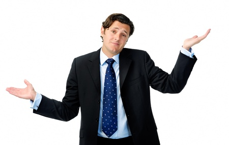 unknowing: Unsure businessman shrugs his shoulders and throws his hands in the air Stock Photo